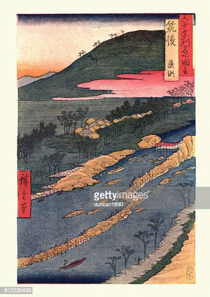 illustrations, cliparts, dessins animés et icônes de paysage japonais par hiroshige - estampe japonaise