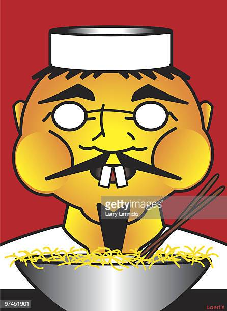a japanese man eating a bowl of noodles - only japanese stock illustrations, clip art, cartoons, & icons