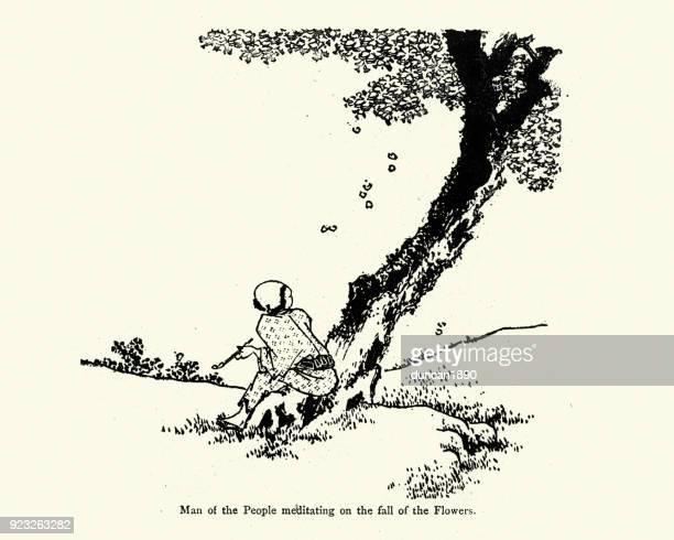 Regarder Fleur chute d'un arbre l'homme japonais