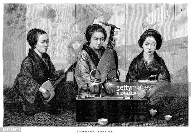 ilustrações de stock, clip art, desenhos animados e ícones de japanese musicians engraving 1885 - vangen