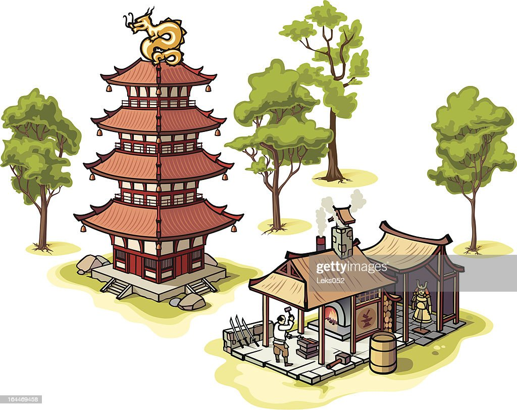 Japanese pagoda, the blacksmith and some isolated trees.
