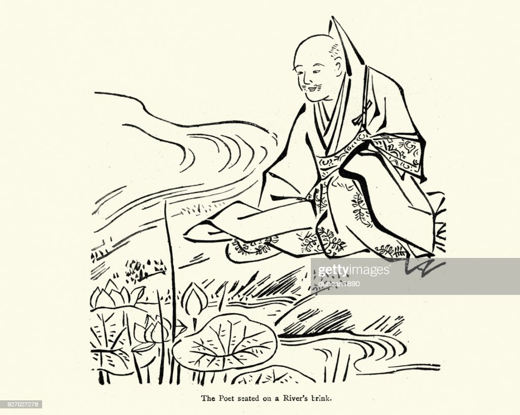 Japanese poet meditating by a river , 19th Century : stock illustration