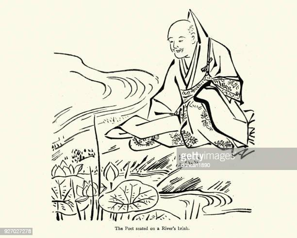 Japanese poet meditating by a river , 19th Century