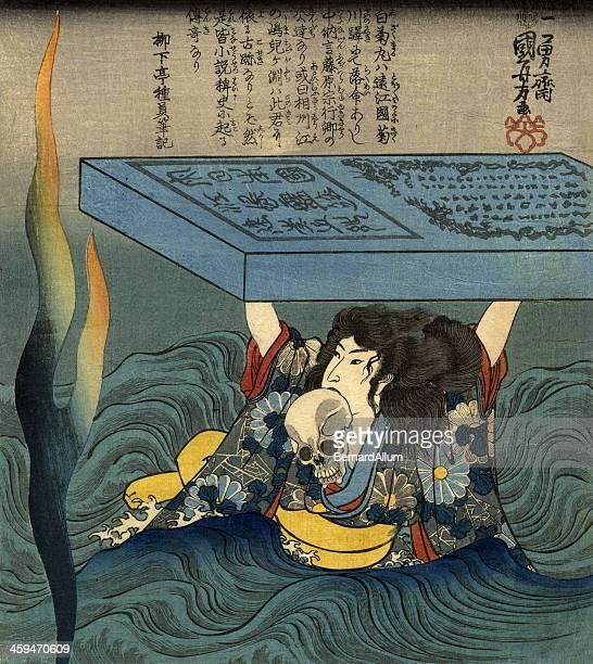 ilustrações, clipart, desenhos animados e ícones de guerreiro samurai (japonês) mantenha um crânio - arte, cultura e espetáculo