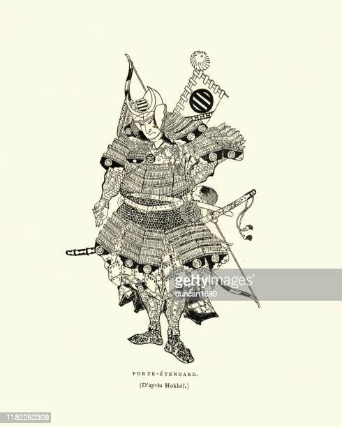 japanese samurai warrior fully armed and armoured for war - archery stock illustrations