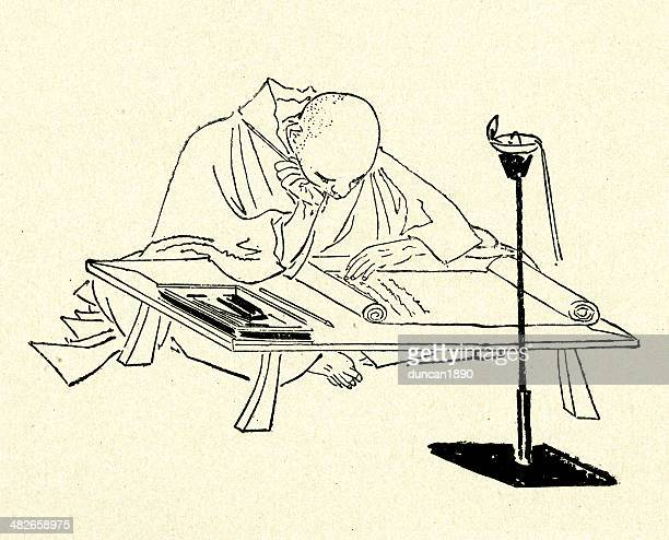 japanese scribe - only japanese stock illustrations, clip art, cartoons, & icons