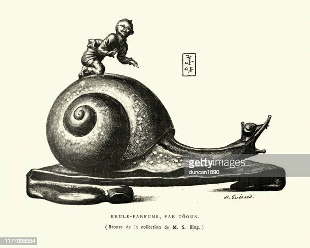ilustrações de stock, clip art, desenhos animados e ícones de japanese sculptre, perfume burner in shape of a snail - caracol de jardim