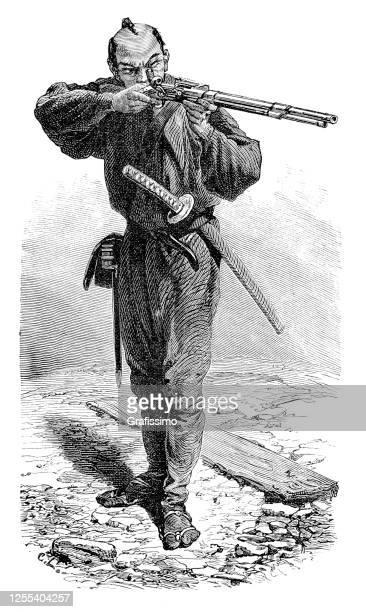日本軍兵士タイクン射撃ライフル銃銃 1876年 - 伝統点のイラスト素材/クリップアート素材/マンガ素材/アイコン素材