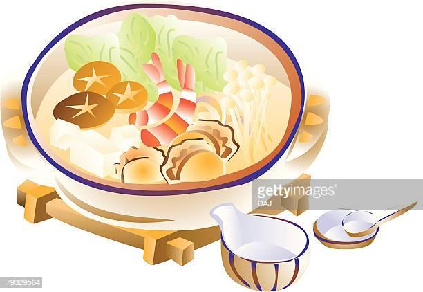 Japanese stew, close-up, illustration
