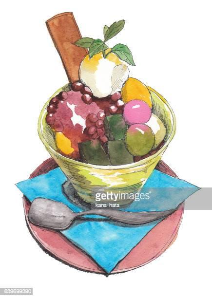 Japanese sweets, Dessert, Cream Anmitsu