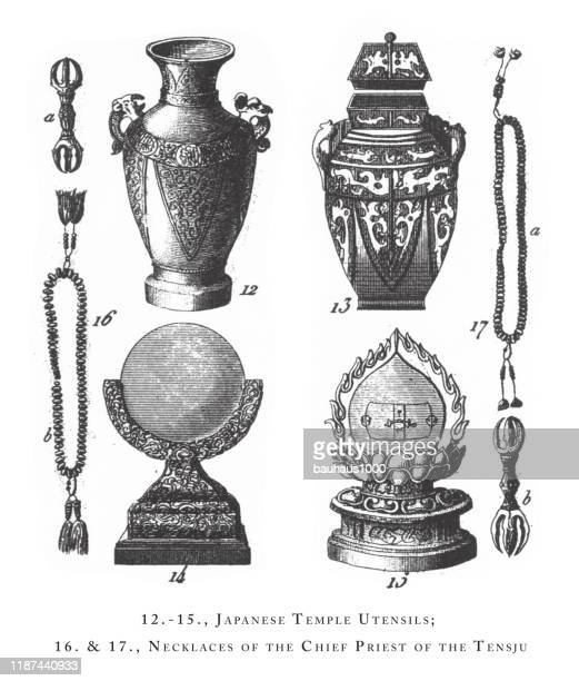 japanese temple utensils, necklaces of the chief chief priest of the temple, priest of the temple, high priest of japan, buddhistic priests, religious scenes, symbols and figures of china, japan and indonesia engraving antique illustration, published 1851 - hindu god stock illustrations