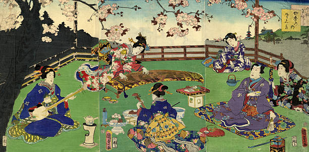 Japanese Triptych Woodblock Cherry Blossom Entertainment Wall Art