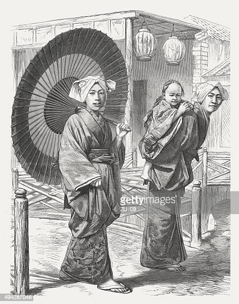 japanese women in 19th century, published in 1871 - only japanese stock illustrations, clip art, cartoons, & icons