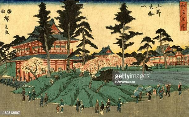 illustrations, cliparts, dessins animés et icônes de scène de bois japonais de la ville imprimé par hiroshige - estampe japonaise