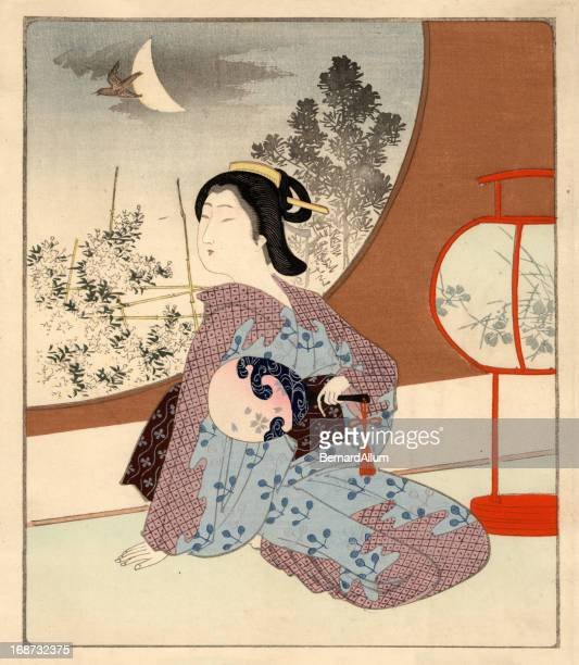japanese woodblock female at night - only japanese stock illustrations, clip art, cartoons, & icons