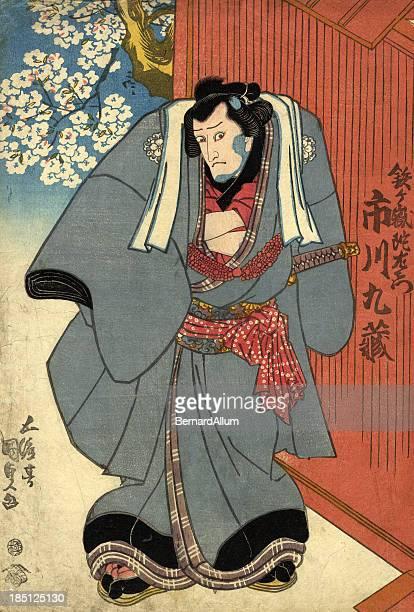 illustrations, cliparts, dessins animés et icônes de bois japonais de kabuki acteur - estampe japonaise