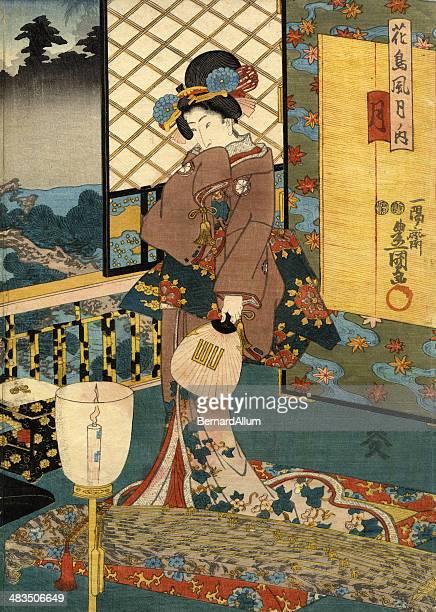 japanese woodblock of beautiful moon woman - geisha stock illustrations, clip art, cartoons, & icons