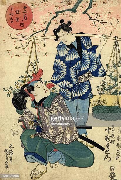 illustrations, cliparts, dessins animés et icônes de bois japonais de kabuki acteurs - estampe japonaise