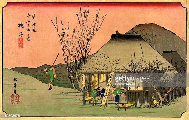 illustrations, cliparts, dessins animés et icônes de imprimé en bois japonais hiroshige - estampe japonaise