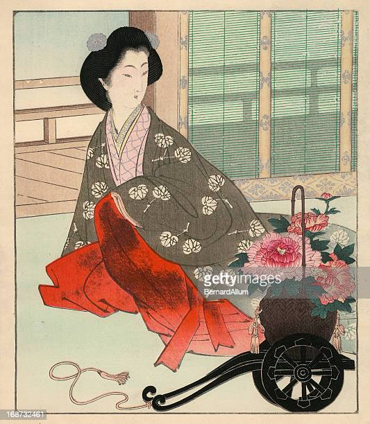Japanese Woodblock Print, Interior Scene