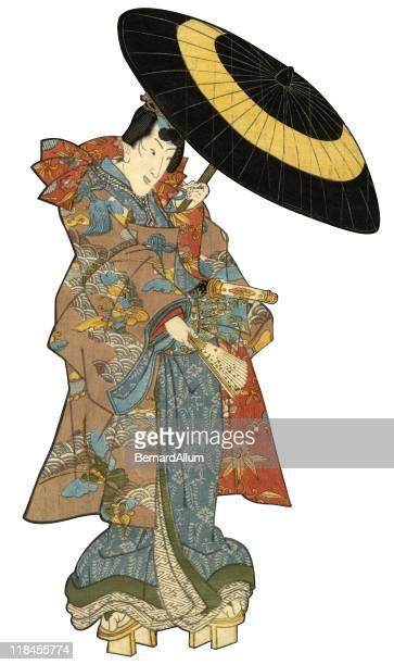illustrations, cliparts, dessins animés et icônes de bois japonais imprimé homme avec parapluie - cerisier japonais