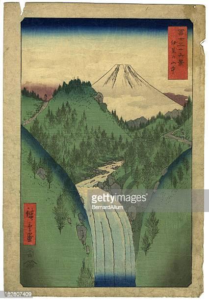 ilustrações, clipart, desenhos animados e ícones de estampa xiolográfica em japonês do monte fuji - mt. fuji