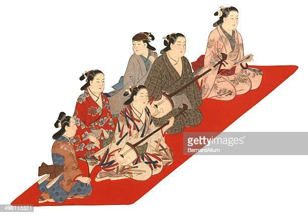ilustrações de stock, clip art, desenhos animados e ícones de impressão xilográfica em japonês de músicos e dançarinos - vangen