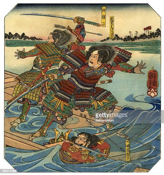 illustrations, cliparts, dessins animés et icônes de bois japonais imprimé des guerriers - estampe japonaise
