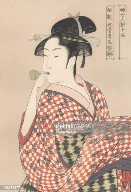 japanese woodblock print of young woman 1790 - geisha stock illustrations, clip art, cartoons, & icons
