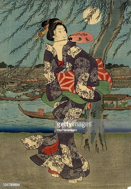 illustrations, cliparts, dessins animés et icônes de de bois japonais de femme et de la lune - estampe japonaise