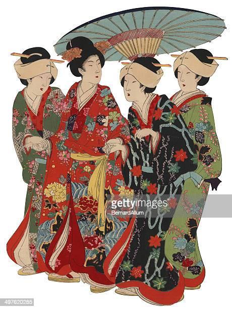 illustrations, cliparts, dessins animés et icônes de japonais imprimé à la planche de bois avec umberella femmes - estampe japonaise