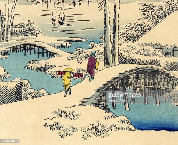 illustrations, cliparts, dessins animés et icônes de imprimé en bois japonais de neige hiroshige - estampe japonaise