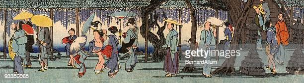 Japanese Woodblock Street Scene by Hiroshige
