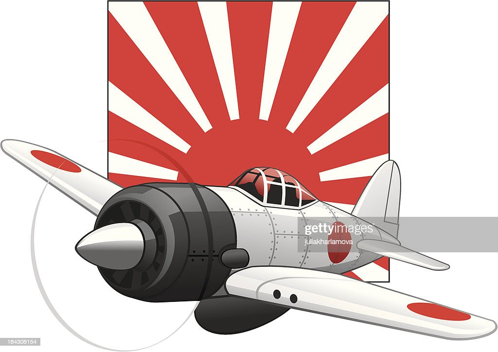 Japanese WW2 plane on a rising sun background