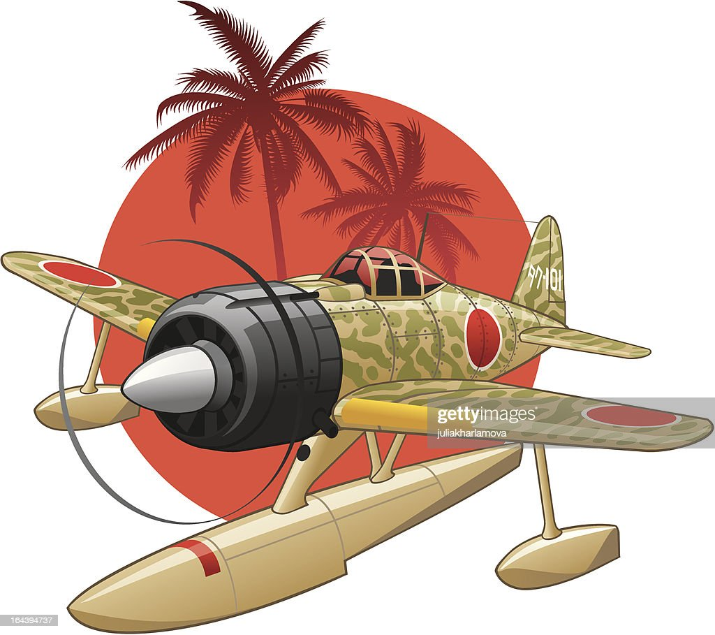Japanese WW2 seaplane on the rising sun background