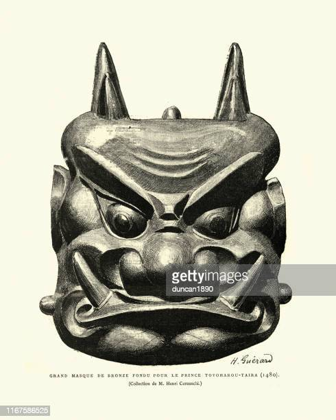 japanesse bronze mask made for prince toyoharou-taira, 15th century - mask disguise stock illustrations