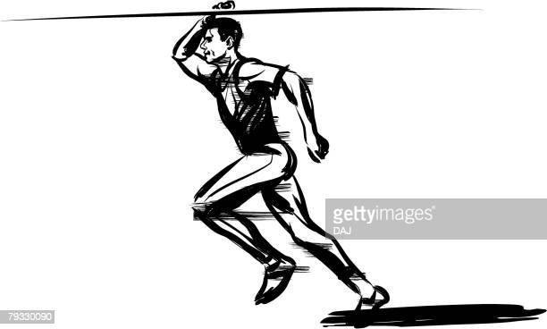 javelin thrower, pen and ink - men's field event stock illustrations