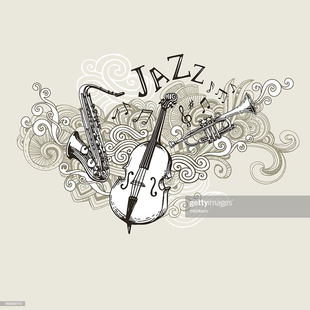 Jazz Instruments Drawing : stock illustration