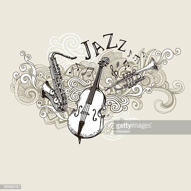 jazz instruments drawing - musical instrument stock illustrations, clip art, cartoons, & icons