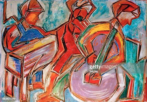 illustrations, cliparts, dessins animés et icônes de des musiciens de jazz, original peinture acrylique sur toile - jazz