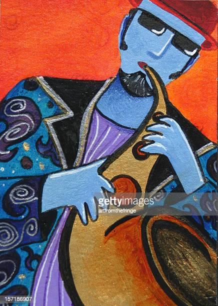jazz sax man - jazz stock illustrations, clip art, cartoons, & icons