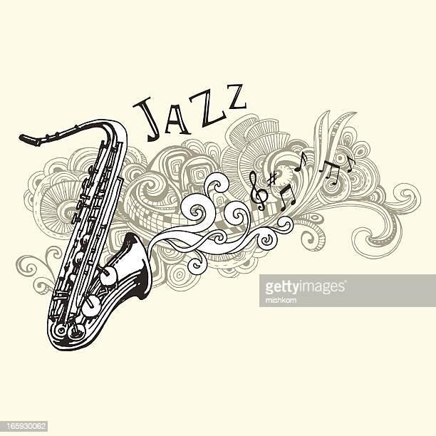Illustrations et dessins anim s de jazz getty images - Dessin saxophone ...