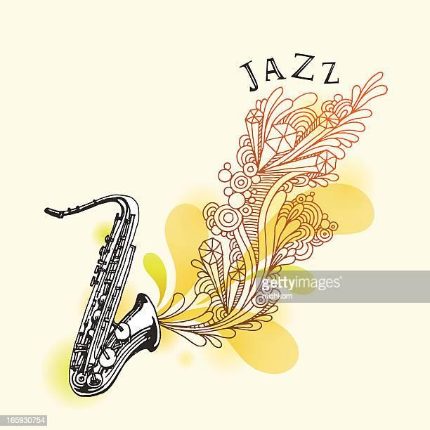 jazz saxophone drawing - jazz stock illustrations, clip art, cartoons, & icons