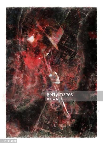 jazz trumpet and new york map - mixed digital technique - jazz stock illustrations, clip art, cartoons, & icons