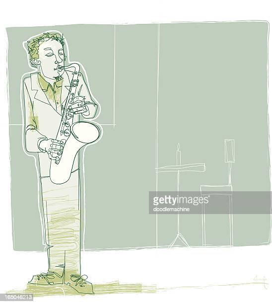 jazzy sax - musician stock illustrations, clip art, cartoons, & icons