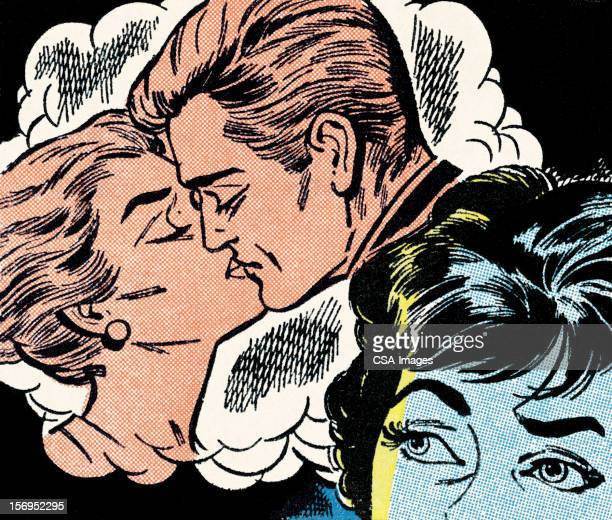 jealous woman - kissing on the mouth stock illustrations, clip art, cartoons, & icons