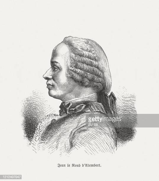 ilustrações, clipart, desenhos animados e ícones de jean le rond d'alembert (1717-1783), matemático francês, xiloga, publicado em 1893 - filósofo