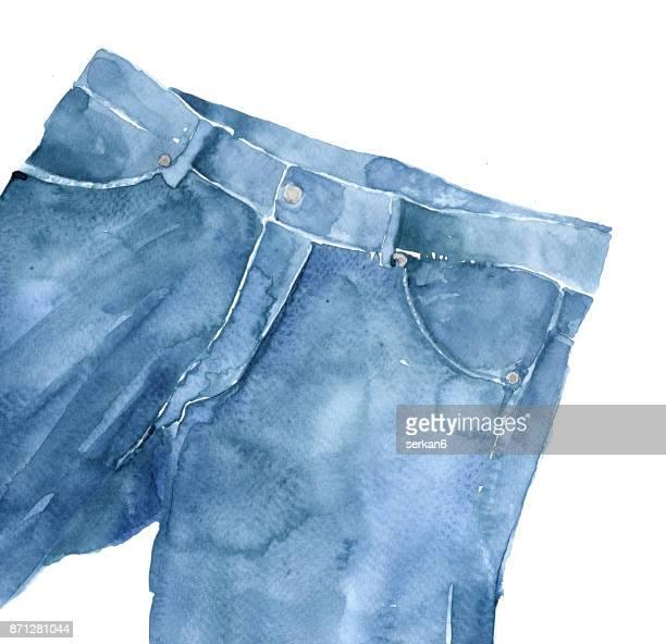 Jeans watercolor illustration