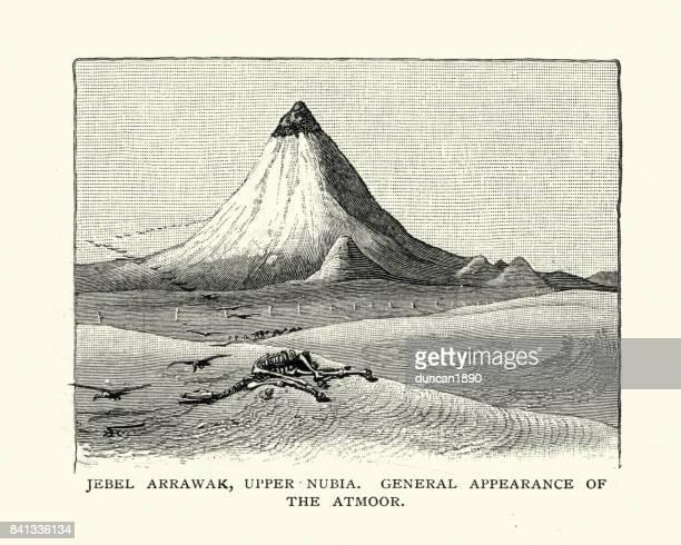 jebel arrawak, upper nubia, 19th century - nubia stock illustrations, clip art, cartoons, & icons