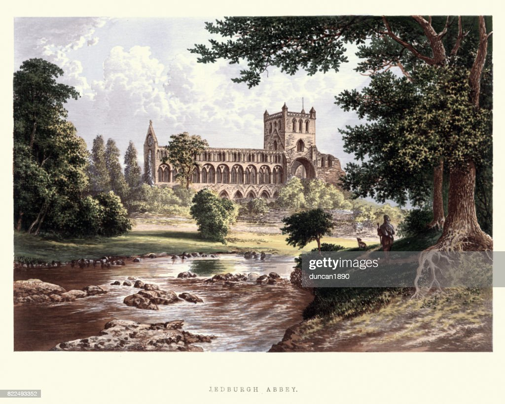 Jedburgh Abbey, a ruined Augustinian abbey, 19th Century : stock illustration